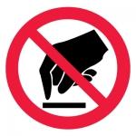 Знак P08 Запрещается прикасаться. Опасно •ГОСТ 12.4.026-2015• (Пленка 200 х 200)