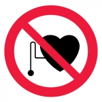 Знак P11 Запрещается работа (присутствие) людей со стимуляторами сердечной деятельности •ГОСТ 12.4.026-2015• (Пленка 200 х 200)