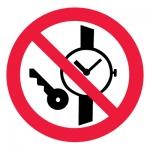 Знак P27 Запрещается иметь при (на) себе металлические предметы (часы и т.п.) •ГОСТ 12.4.026-2015• (Пленка 200 х 200)