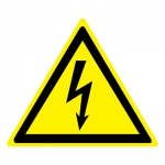 Знак W08 Опасность поражения электрическим током •ГОСТ 12.4.026-2015• (Пленка 250 х 250)