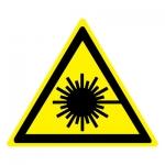 Знак W10 Опасно. Лазерное излучение •ГОСТ 12.4.026-2015• (Пленка 200 х 200)