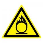 Знак W11 Пожароопасно. Окислитель •ГОСТ 12.4.026-2015• (Пластик 200 х 200)