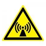 Знак W12 Внимание. Электромагнитное поле •ГОСТ 12.4.026-2015• (Пластик 200 х 200)