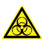 Знак W16 Осторожно. Биологическая опасность (Инфекционные вещества) •ГОСТ 12.4.026-2015• (Пластик 200 х 200)