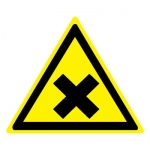 Знак W18 Осторожно. Вредные для здоровья аллергические (раздражающие) вещества •ГОСТ 12.4.026-2015• (Пленка 200 х 200)