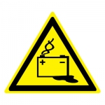 Знак W20 Осторожно. Аккумуляторные батареи •ГОСТ 12.4.026-2015• (Пленка 200 х 200)