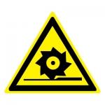 Знак W22 Осторожно. Режущие валы •ГОСТ 12.4.026-2015• (Пластик 200 х 200)